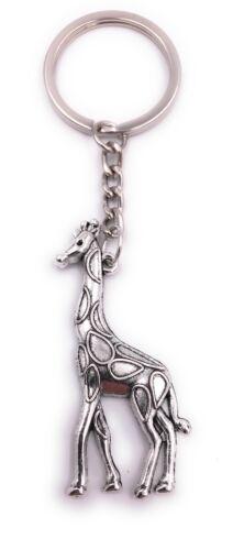 Giraffe Afrika aufrecht Schlüsselanhänger Anhänger Silber aus Metall