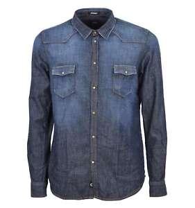 sports shoes c70b8 b62b3 Dettagli su OFFICINA 36 uomo camicia blu denim jeans 100% cotone 03538A4988  BLU