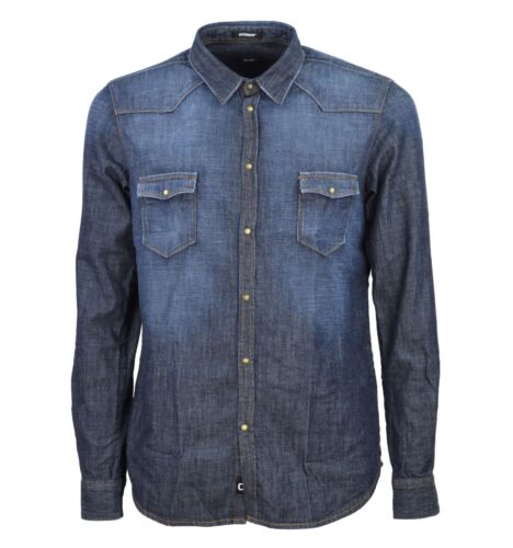 Blu Cotone 100 Officina 03538a4988 Denim Camicia Jeans Uomo 36 vxqtzwHA