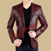 Mens Business PU Leather 2 Button Slim Fit Jacket Lapel BLAZERS tailored jacket