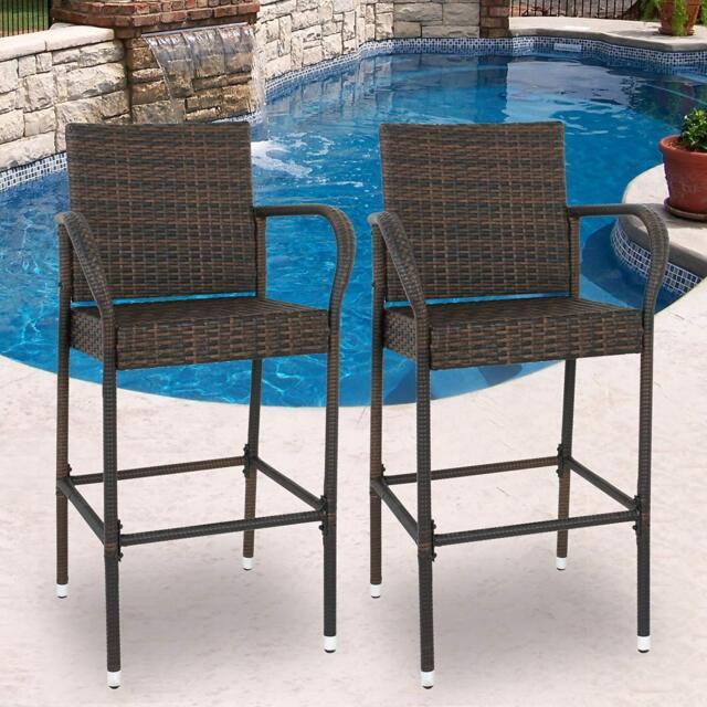 Attrayant Wicker Bar Stool Rattan Chair Patio Furniture Chair Outdoor Backyard Set Of  2
