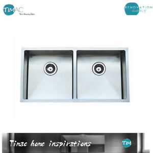 Brand New Roma 880mm Double Bowl Square Kitchen Sink Drop In Or