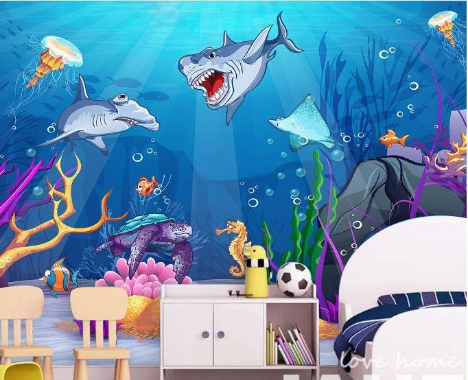 3D Ocean World Sharks Paper Wall Print Decal Wall Wall Murals AJ WALLPAPER GB