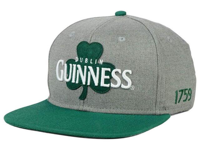 3cfec4b1093 Guinness Beer Men s Dublin Clover Adjustable Snapback Cap Hat - Grey Green