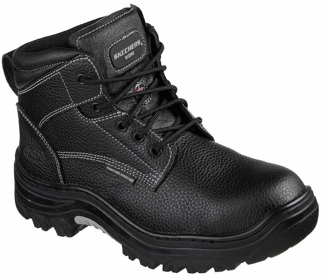 Para Hombre Skechers Trabajo Seguridad Burgin agraria Negro botas De Puntera De Acero [77143 negro]