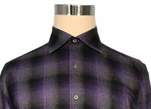 St-Croix-Men-039-s-Shirt-L-Large-Plaid-Purple-Gray-Black-Cotton-Long-Sleeve