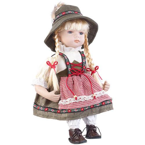 Porzellanpuppe: Sammler-Porzellan-Puppe Anna mit bayerischer Tracht, 34 cm