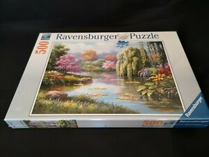 RAVENSBURGER ROMANTIC POND VIEW JIGSAW PUZZLE - 500 PIECE - BRAND NEW AND SEALED