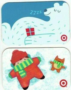Target-Gift-Card-Christmas-LOT-of-2-Polar-Bear-Snow-Angel-2008-No-Value