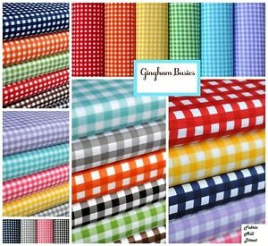 Gingham-1-4-Checkered-Poly-Cotton-Fabric-Prints-44-45-034-Wide-Sold-By-The-Yard