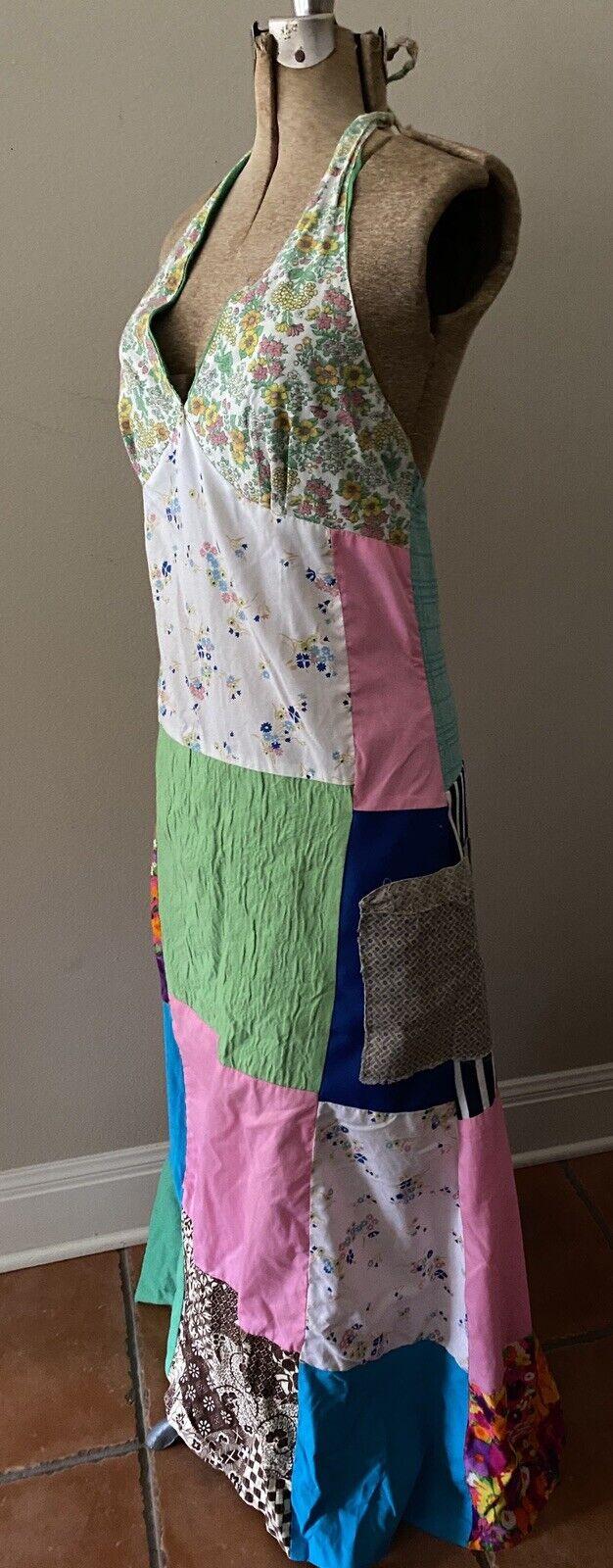 Vintage Handmade 60s Floral Patchwork Quilt Dress… - image 6