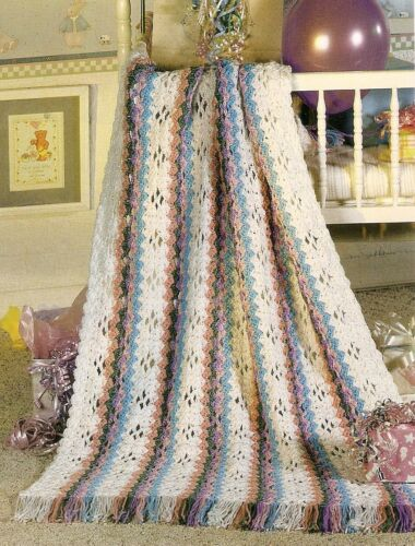 LOVELY Rainbow Stripes Baby Afghan//Crochet Pattern INSTRUCTIONS ONLY