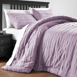 loft stripe cotton blend 3 piece full queen king comforter set in light pink ebay. Black Bedroom Furniture Sets. Home Design Ideas