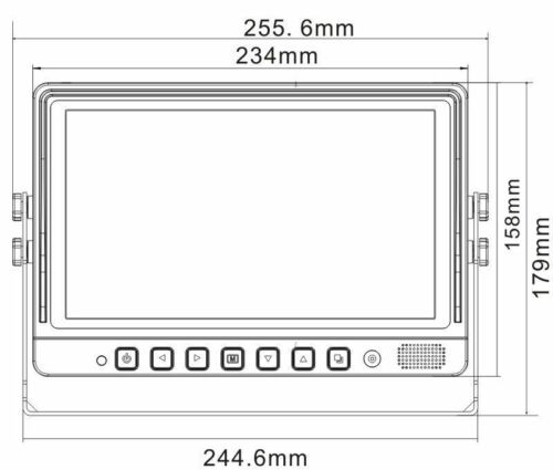 "SP-937 9/"" WIRED DIGITAL REAR VIEW BACK UP QUAD SPLIT TFT LCD MONITOR DC11-32V"