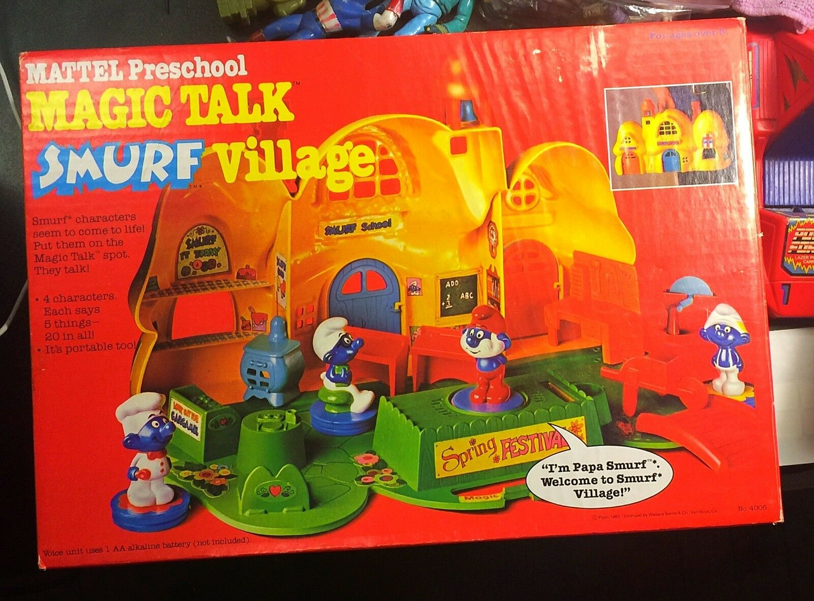 Jahr Mattel Preschule Magic Talk Smurf Village Original Box Almost Complete