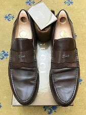 Gucci Mens Shoes Brown Leather Suede Loafers UK 11 US 12 EU 45 Script