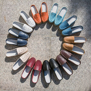 Size-5-12-Womens-Real-Leather-Flats-Backless-Loafers-Casual-Mules-Slides-Shoes