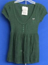 EUC Cute HOLLISTER CALIFORNIA 1922 SCOOP Neckline TOP w.LOGO Light KNIT Grn Sz S