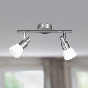 WOFI-Plafonnier-LED-eve-a-2-LAMPES-NICKEL-VERRE-BLANC-spots-reglable-10-W