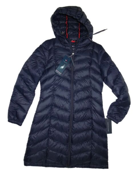 Tommy Hilfiger Women s Long Hooded Packable Down Coat W  Contrast ... d4e1cd62ca