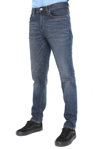 Mens Tapered Jeans Casual Regular Slim Fit Plain Denim Work Jeans