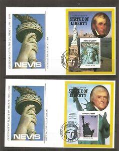 Nevis-SC-517-520-Statue-Of-Liberty-Centenary-FDC-Souvenir-sheets