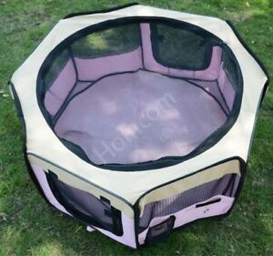 Fabric-Foldable-Potable-Pet-Playpen-For-Dog-Puppy-Cat-Rabbit-Pig-Run-Pink-Small