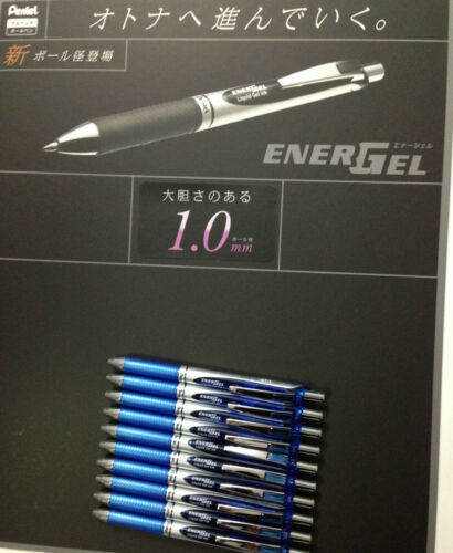 10 pcs x Pentel Energel 1.0mm Metal Tip Retractable Gel Pen BLUE BL80