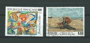 TABLEAUX-d-039-ART-1987-YT-2473-a-2474-TIMBRES-OBL-USED