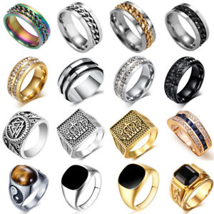 Mens-Stainless-Steel-Ring-Gothic-Punk-Black-Onyx-Signet-Finger-Rings-35-Styles