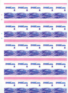 Railway-Locomotive-Imperf-Colour-Proof-Sheet-Of-50-Pairs-S424