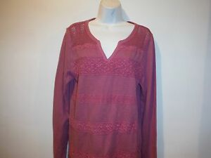 NWT-LUCKY-BRAND-LACE-STRIPE-THERMAL-PINK-SIZE-XL