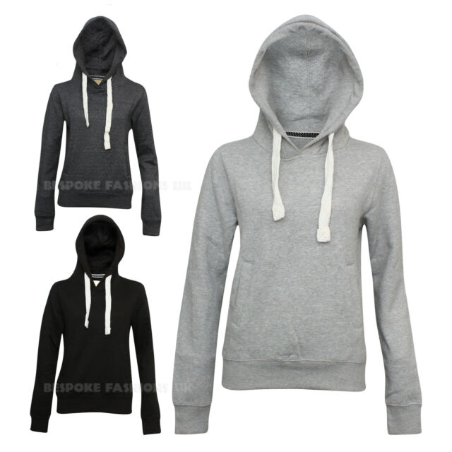 Women's Plain Fleece Lined ZIPLESS Hoodie Sweatshirt Jumper Hooded Top 8-14