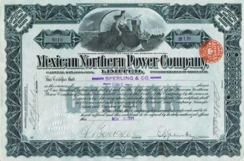 MEXICAN NORTHERN POWER COMPANY stock certificate 1911