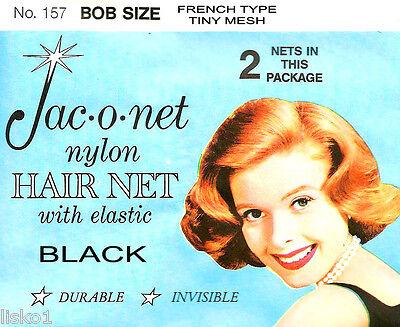 Black Jac-O-Net  #157  Bob Size French type Hair Net  w//Elastic 2 pcs