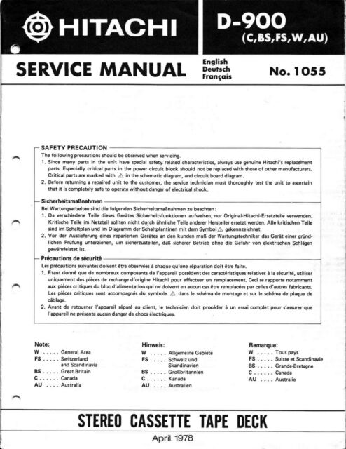 Service Manual Manual For Hitachi D