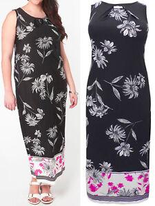 Nuevo-Evans-Talla-14-16-18-20-Negro-Estampado-Floral-sin-mangas-del-vestido-largo-b4