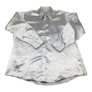 Paul Rene Herren Kleid Shirt metallic Punkt Kragen Tasche Vintage 17 1/2 34/35