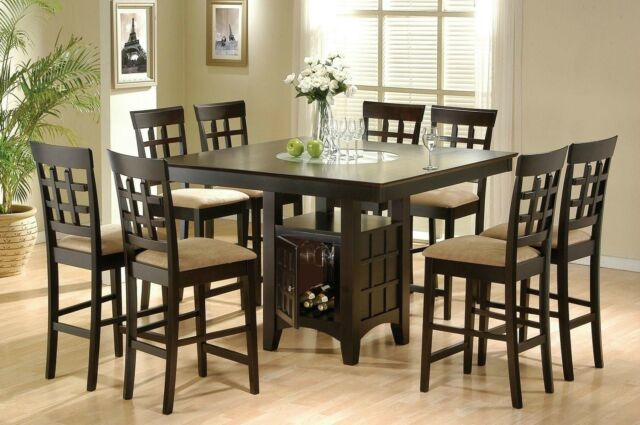 Coaster 9pc Counter Height Storage Dining Table W Lazy Susan Chair Set For Sale Online Ebay