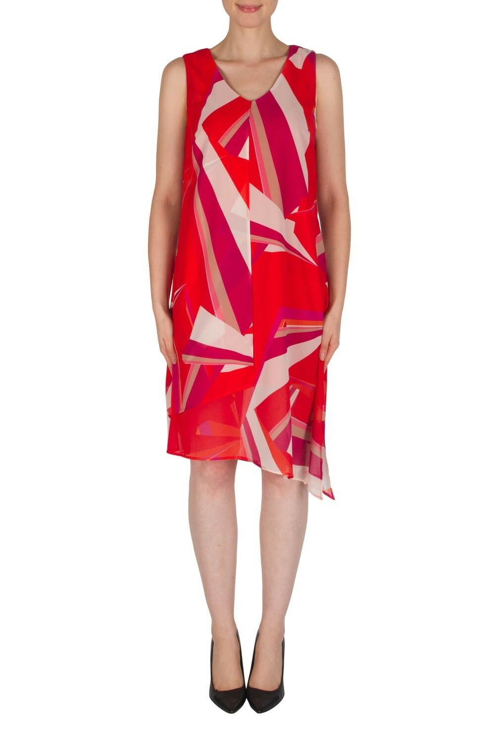 Joseph Ribkoff Red Beige Vivid Graphic Print Asymmetric Dress 182608 US 8