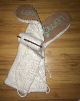 Lemon Ladies Knit Knee High Lounge Slipper Socks Cream Suede Bottom