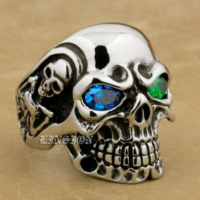 316L Stainless Steel Blue Green CZ Eyes Titan Skull Mens Biker Gothic Ring 3A501