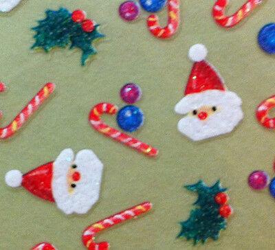 Nail Art 3D Sticker Glitter Christmas Holidays Decal Santa Claus Candy Cane
