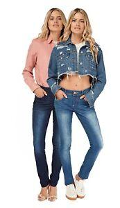 Das Bild wird geladen Damen-Low-Rise-Skinny-Jeans-Stretch-mittelblau-Sand- 862cf2665a
