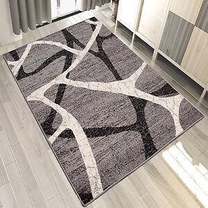 Details zu Designer Teppich Modern Wohnzimmer Teppiche Kurzflor in Grau