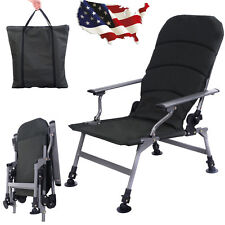 Portable Folding Adjustable Fishing Chair Camping Outdoor w/Carry Bag Army Green