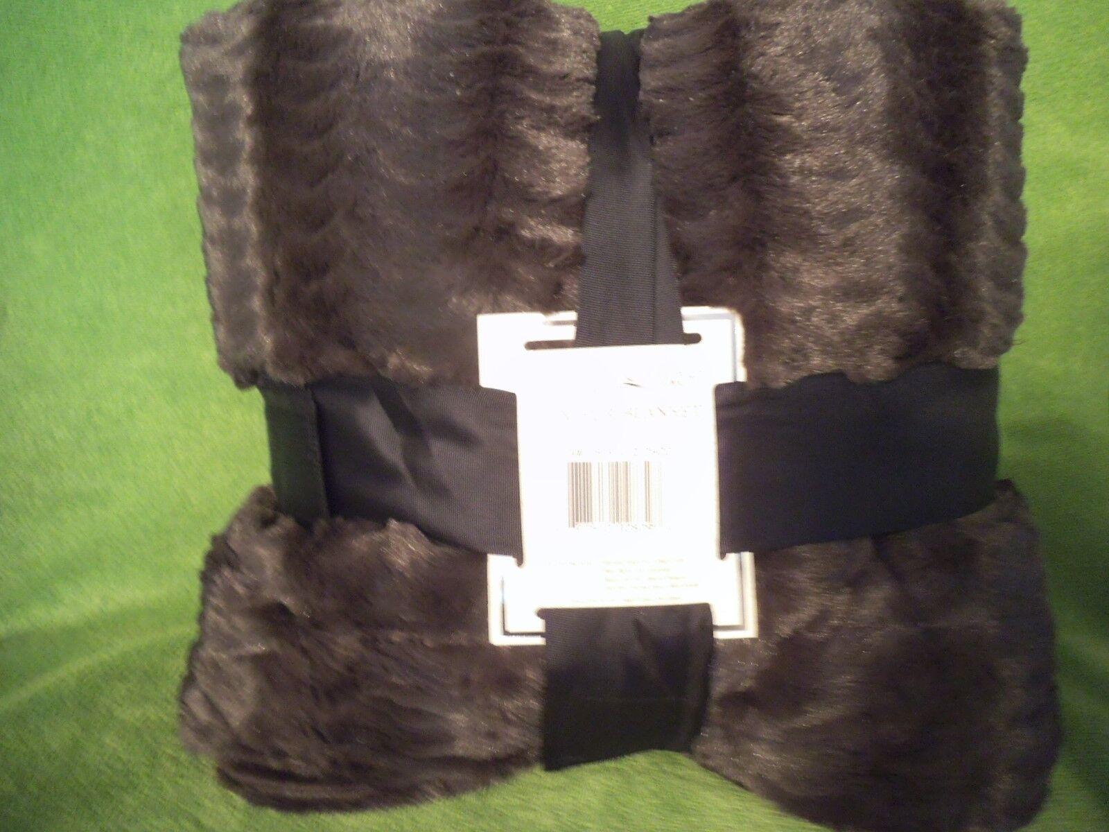 KING MINK fur (faux) Blanket LINED or Queen long Mink coat feel  charcoal brown