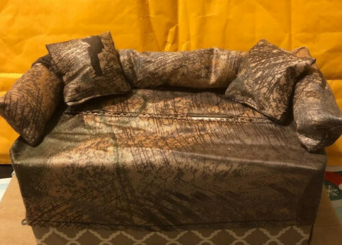 Tissue Box Cover Couch W// Pillows Brown //woodsie Couch With Matching Pillows