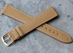 Long-flat-unpadded-tan-stitched-Genuine-Pigskin-19mm-vintage-watch-band-1960s-70