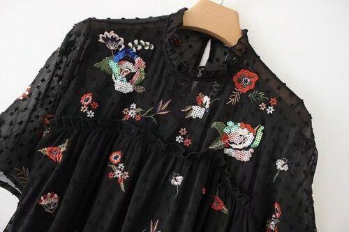 3986 Noires Evasées Fleurs Courte Manches Douces Robe Courtes Courte Robe wIqpxS6q
